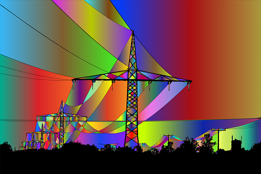 Power Towers, Transmission Towers, Silhouette, Cables