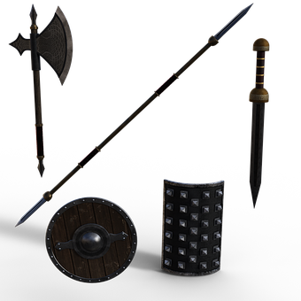 Weapons, Axe, Sword, Spear, Shields, Armory, Weaponry