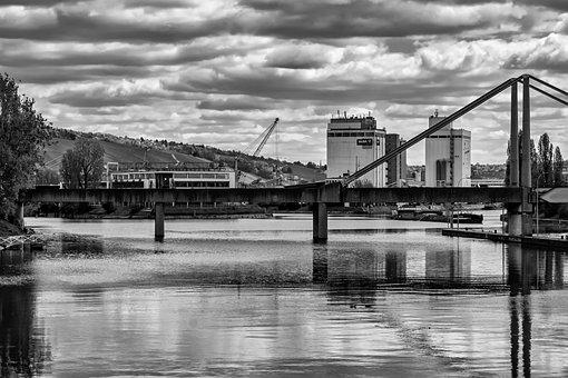 Bridge, Building, River, Water, Stuttgart, Alba