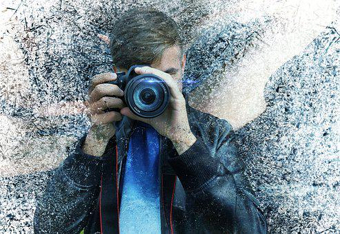 Man, Camera, Lens, Photographer, Teenager, Assembly