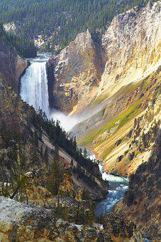 Canyon, Waterfall, River, Gorge, Cliff, Rocks, Trees