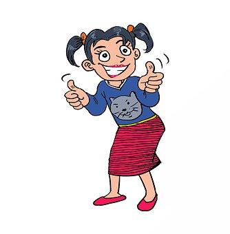 Girls Give Thumbs Up, Girl, Beautiful, Cheerful