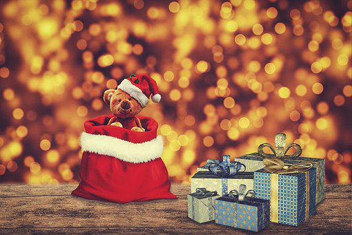 Christmas, Gifts, Teddy Bear, Santa Hat