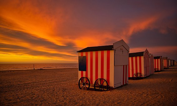 Beach Huts, Houses, Beach, Sea, Coast, Sand, Vacations