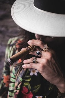Man, Hand, Cigar, Rings, Hat, Smoking, Smoke