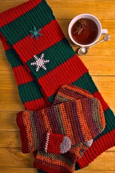 Knitted, Scarf, Mittens, Gloves, Knitwear, Cup Of Tea