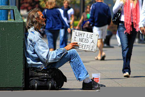 Man, Sign, Beggars, Homeless, Begging, Street, Sidewalk