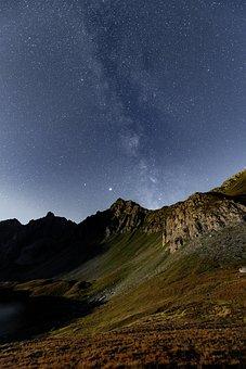 Night Sky, Mountains, Stars, Galaxy, Milky Way