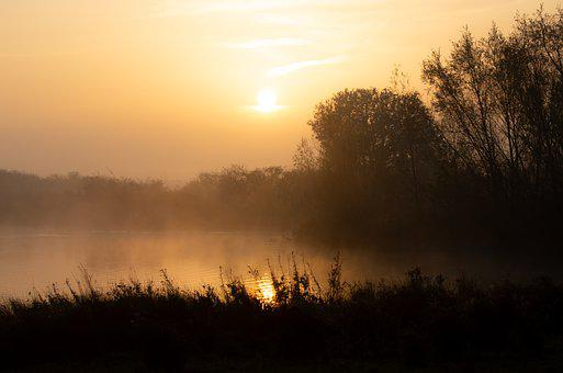 Misty Riverbank, Misty, Mist, Sunrise, Grass, Fog
