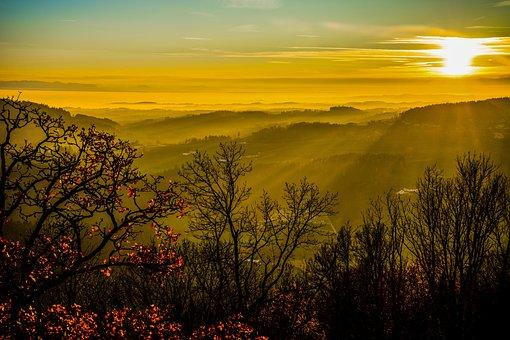 Sunset, Trees, Mountains, Evening, Sun, Mühlviertel