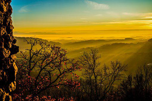Sunset, Trees, Evening, Autumn, Sky, Nature
