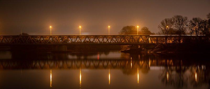 Bridge, Lights, Night, River, Reflection, Urban, City