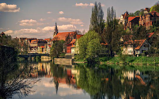 River, Trees, Town, Village, Old Town, Old Village