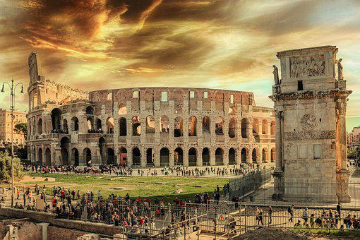 Colosseum, People, Italy, Crowd, Tourists, Ruins
