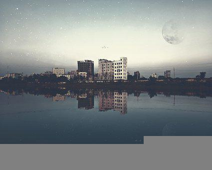 City, River, Night Sky, Moon, Stars, Reflection, Water