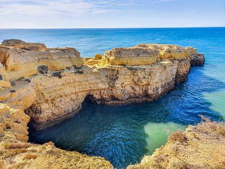 Cove, Sea, Ocean, Lagoon, Horizon, Rock Formations