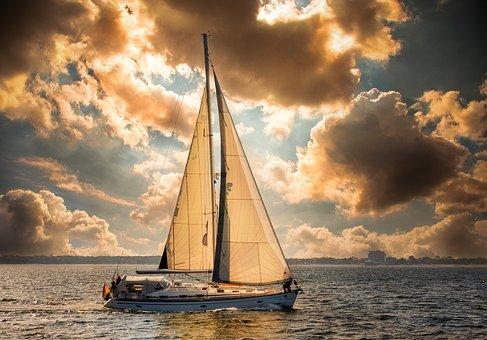 Boat, Ocean, Sunset, Sailing, Ship, Sea, Water, Sail