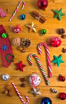 Candy Canes, Baubles, Stars, Christmas Balls