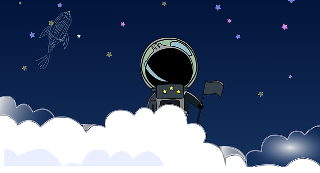 Astronaut, Stars, Space, Spaceship, Flag, Clouds