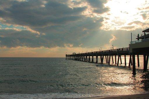 Sunset, Florida, Tropical, Miami, Sky, Nature, Water