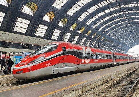 Train, Platform, Station, City, Locomotive, Trenitalia