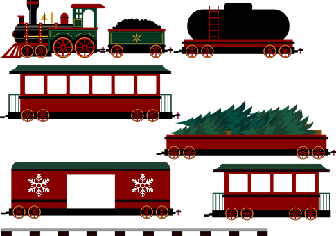 Train, Railway, Locomotive, Christmas, Railroad, Tracks