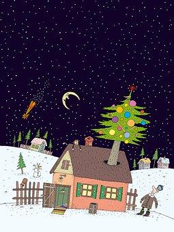 House, Tree, Man, Moon, Night, Stars