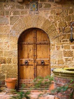 Door, Gate, Entrance, Wall, Brick, Building, Castle