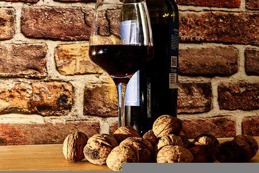 Wine, Glass, Walnuts, Red Wine, Wine Bottle, Wine Glass