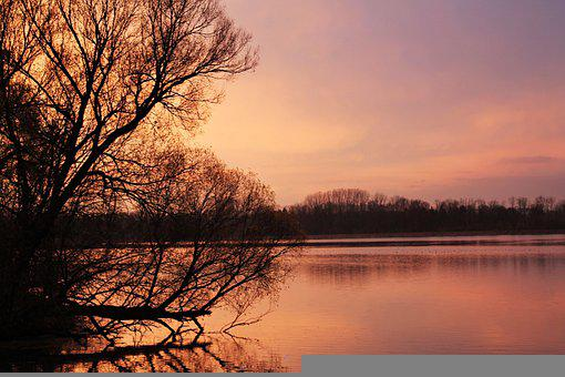 Sunset, Lake, Dusk, Pink, Winter, Water, Sky