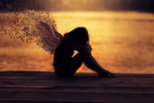 Girl, Wings, Young, Sad, Depressed, Alone, Depression