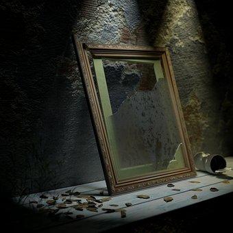 Frame, Picture Frame, Glass, Broken, Shattered