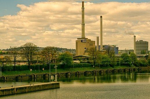 River, Chimneys, Buildings, Power Generation, Industry
