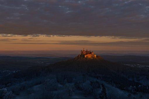 Castle, Hilltop, Trees, Woods, Woodlands, Mountains