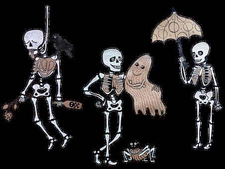Skeletons, Ghost, Umbrella, Characters, Cartoons
