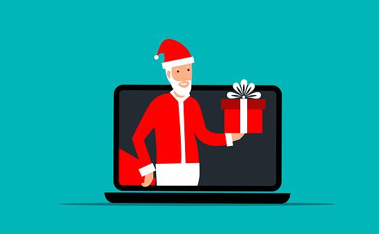 Christmas, Santa, Laptop, Holiday, Computer, Gift, Box