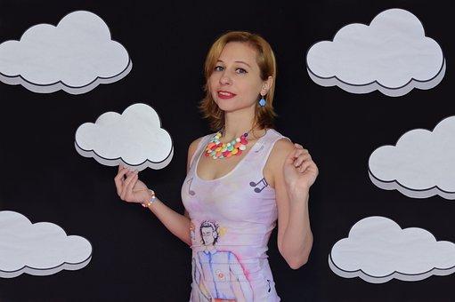 Woman, Girl, Clouds, Dress, Music, Playfully, Sky