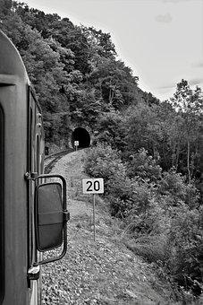Train, Railway, Countryside, Tunnel