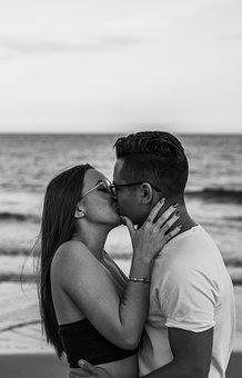 Couple, Kiss, Beach, Coast, Lovers, Relationship, Love