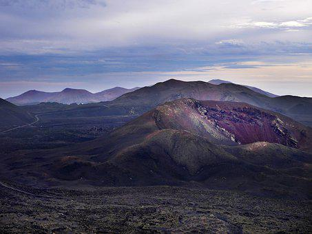 Volcano, Crater, Mountain, Valley, Light, Travel