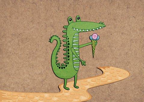 Crocodile, Ice Cream, Ways, Cute, Funny, Character