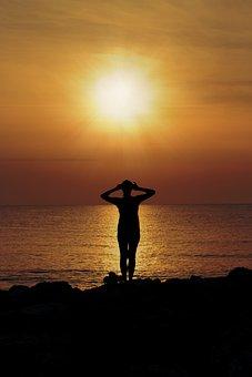 Sunset, Yoga, Silhouette, Girl, Meditation, Female