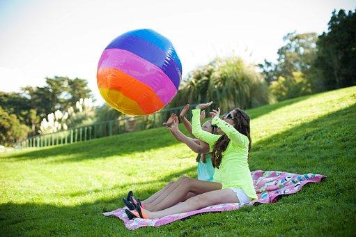 Girls, Playing, Field, Friends, Bouncy Ball, Friendship