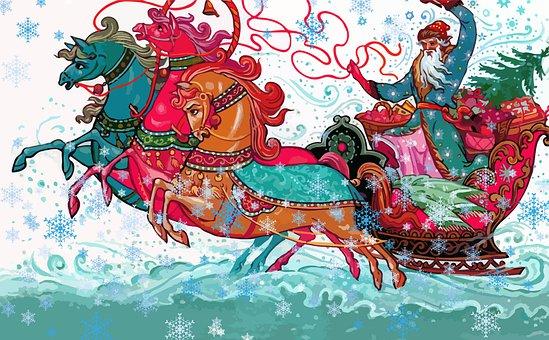 Santa Claus, Horses, Sled, Gifts, Wagon, Winter