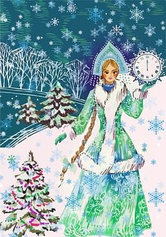 Snow Maiden, Bird, Winter, Holiday, Greeting