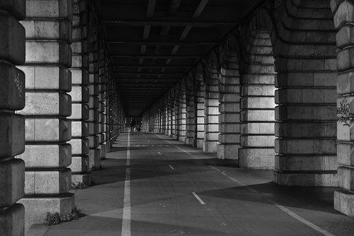 Bridge, Road, Highway, Ride, Tower, Paris, Night