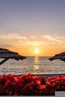 Sea, Sunset, Beach, Huts, Beach Huts, Horizon, Dusk