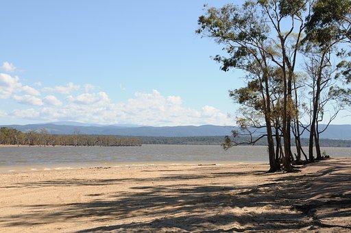 Lake, Coast, Trees, Sand, Waves, Mountains, Water
