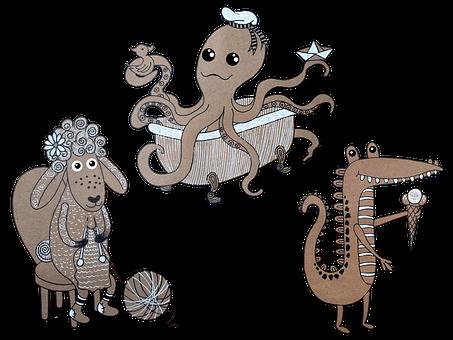 Octopus, Crocodile, Lamb, Living Beings, Cartoons