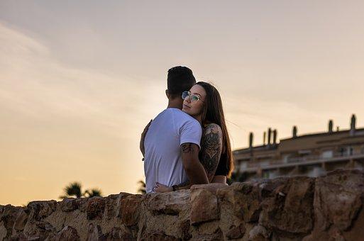 Couple, Hug, Sunset, Coast, Lovers, Relationship, Love